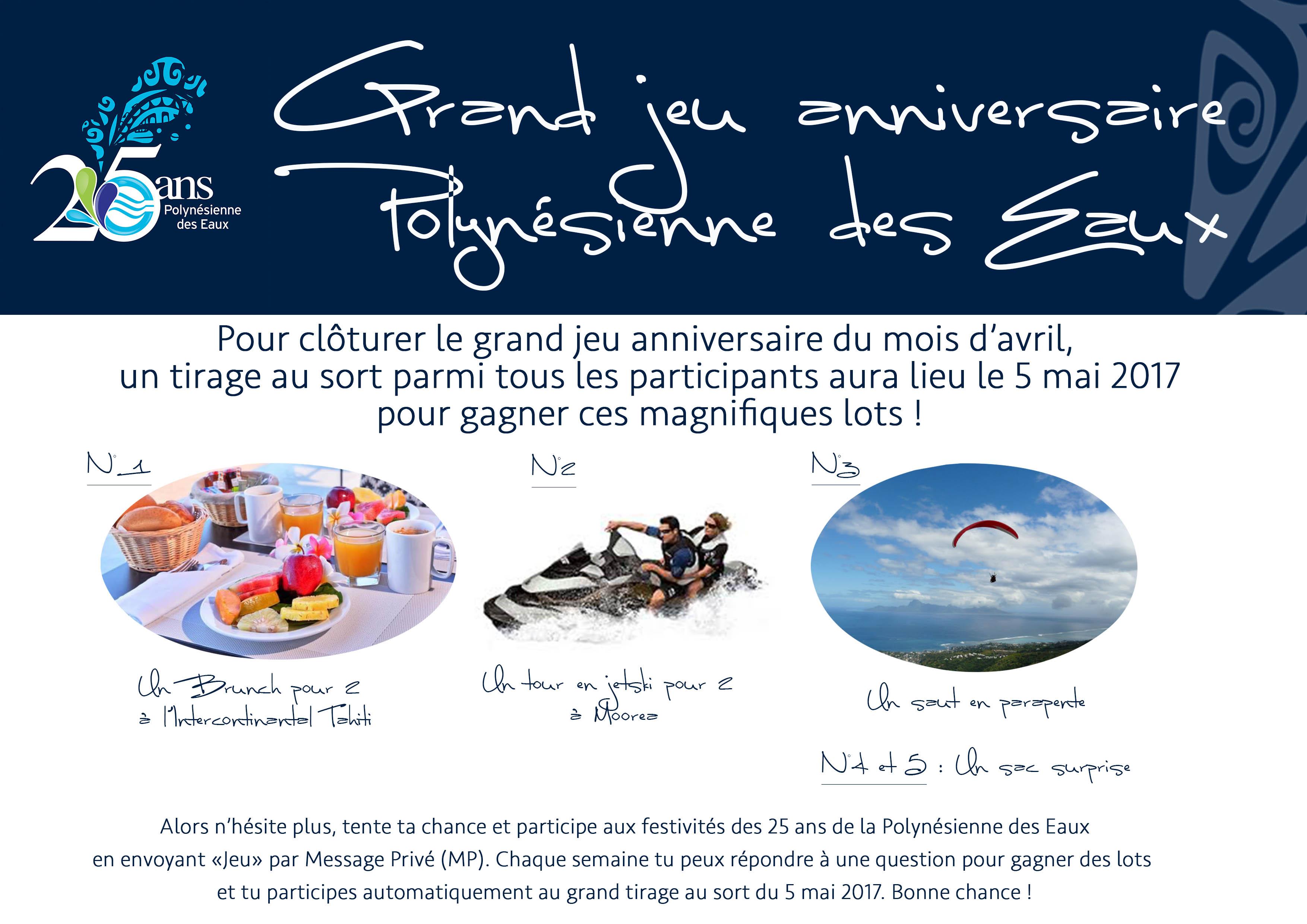 Anniversaire Jeu Facebook Polynesienne Des Eaux