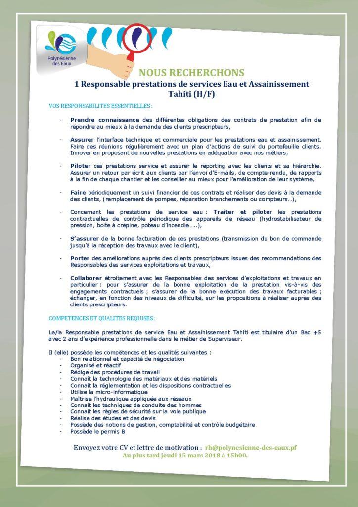 1 Responsable Prestations De Services Eau Et Assainissement