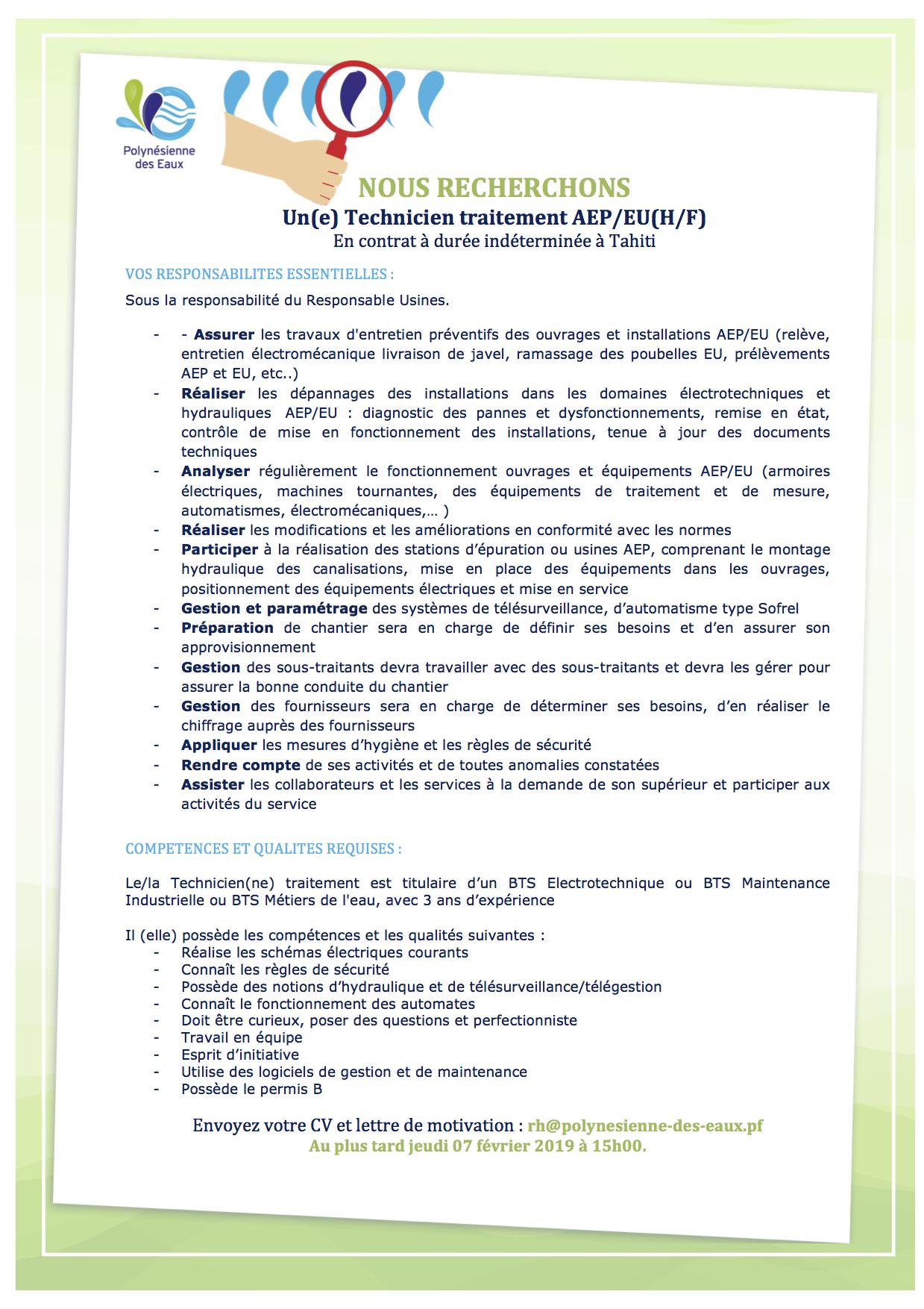 Ac Externe 1 Technicien Traitement Remplacement Kaimuko
