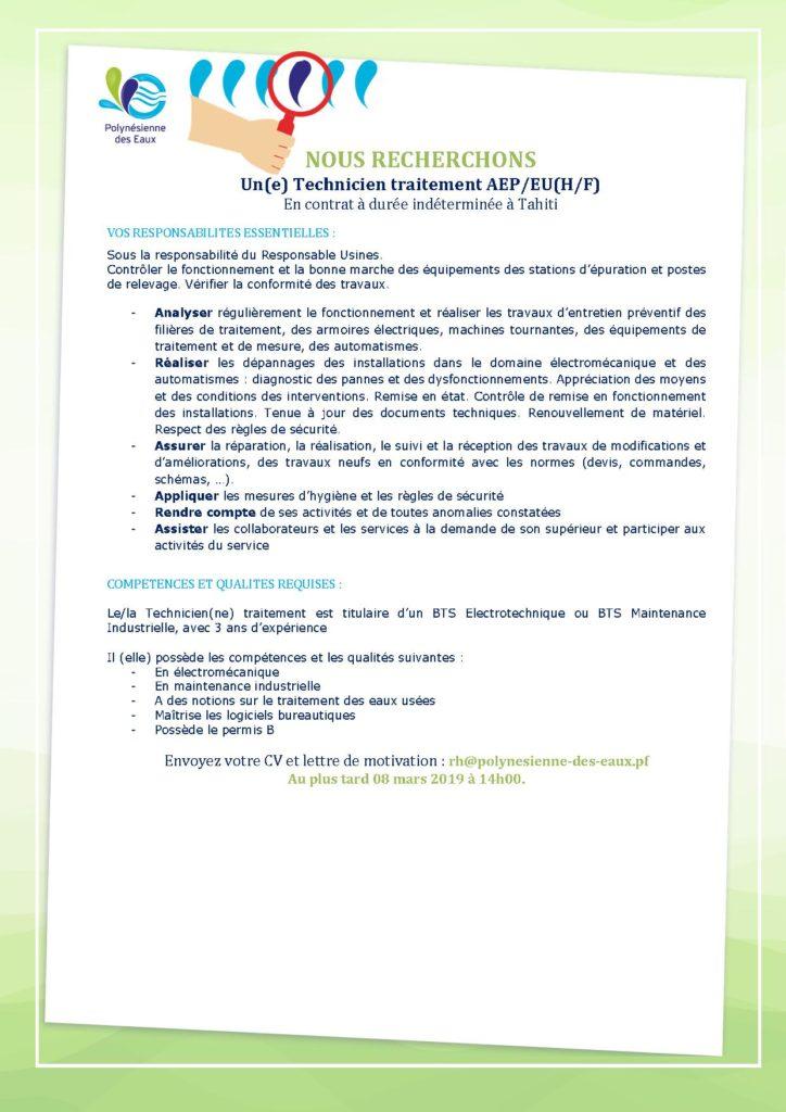 1 Technicien Traitement H F Polynésienne Des Eaux